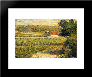 House With Red Roof: Modern Black Framed Art Print by Georges Seurat