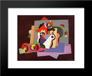 Composition With Flowers: Modern Black Framed Art Print by Georges Valmier