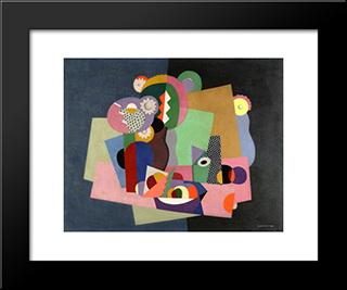 Flowers And Fruit: Modern Black Framed Art Print by Georges Valmier