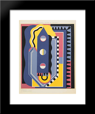 From Collection Decors Et Couleurs, Album No. 1: Modern Black Framed Art Print by Georges Valmier