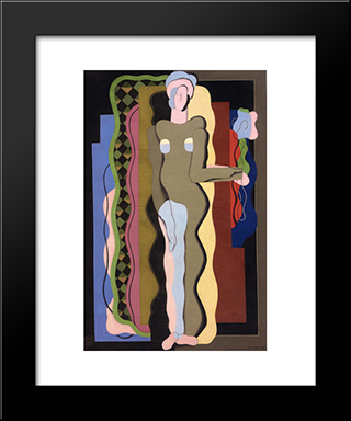 Nude With A Flower: Modern Black Framed Art Print by Georges Valmier
