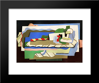 Reclining Girl: Modern Black Framed Art Print by Georges Valmier