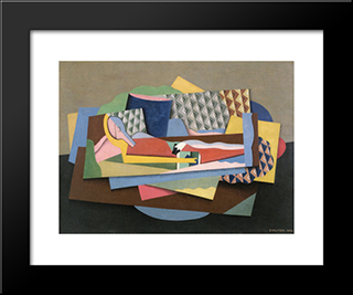 Reclining Woman: Modern Black Framed Art Print by Georges Valmier