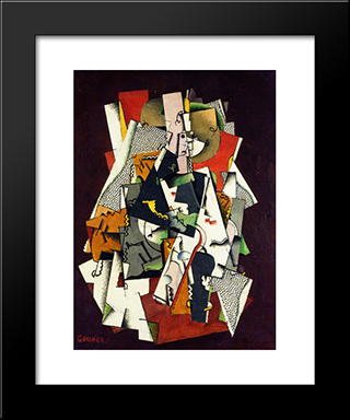 Seated Girl: Modern Black Framed Art Print by Georges Valmier