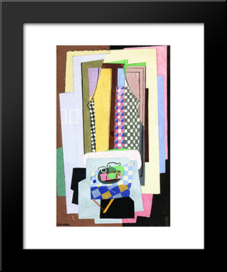 Still Life In Front Of A Window: Modern Black Framed Art Print by Georges Valmier