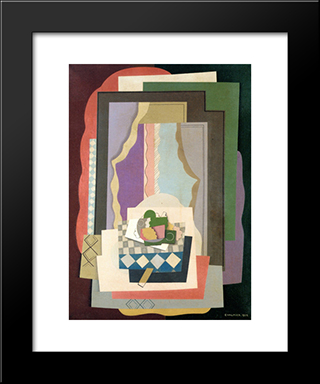 Still Life In Front Of The Window: Modern Black Framed Art Print by Georges Valmier