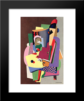 The Piano Lesson: Modern Black Framed Art Print by Georges Valmier