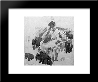 A Seated Lady: Modern Black Framed Art Print by Georges Vantongerloo