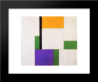 Composition: Modern Black Framed Art Print by Georges Vantongerloo