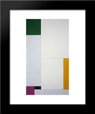 Composition Derived From The Equation Y = - Ax2 + Bx + 18 With Green, Orange, Violet (Black): Modern Black Framed Art Print by Georges Vantongerloo