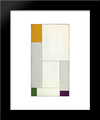Composition Emanante De L'Equation Y= - Ax2+Bx+18 Avec Accord De L'Orange - Vert - Violet: Modern Black Framed Art Print by Georges Vantongerloo
