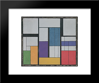 Composition Ii, Indigo Violet Derived From Equilateral Triangle: Modern Black Framed Art Print by Georges Vantongerloo
