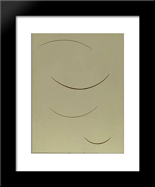 Curving Function (Greenish Brown): Modern Black Framed Art Print by Georges Vantongerloo