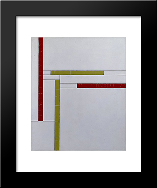 Fonction De Lignes, Rouge, Vert: Modern Black Framed Art Print by Georges Vantongerloo
