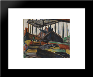 Moored Fishing Boats In Volendam: Modern Black Framed Art Print by Georges Vantongerloo