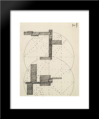 S X R3 (Construction Pour Une Sculpture): Modern Black Framed Art Print by Georges Vantongerloo