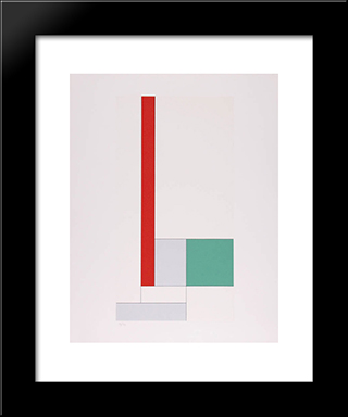 Y= - X2 + Bx + C Rouge - Vert: Modern Black Framed Art Print by Georges Vantongerloo