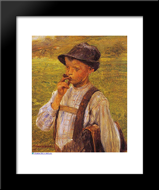 Boy Smoking: Modern Black Framed Art Print by Georgios Jakobides