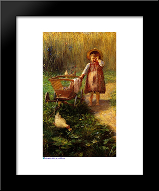 Child With Cart: Modern Black Framed Art Print by Georgios Jakobides