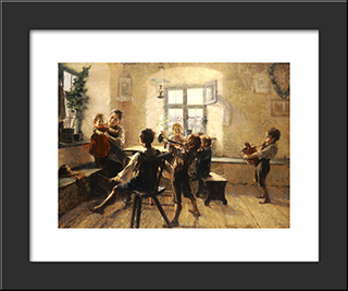 Children'S Concert: Modern Black Framed Art Print by Georgios Jakobides