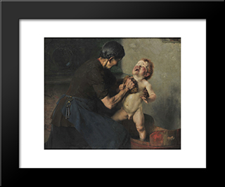 Cold Shower: Modern Black Framed Art Print by Georgios Jakobides