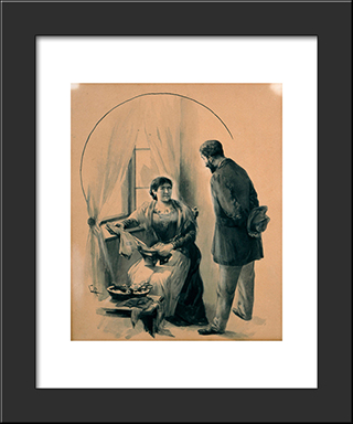 Drawing For The Short Story The Ugly Sister By D. Vikelas: Modern Black Framed Art Print by Georgios Jakobides