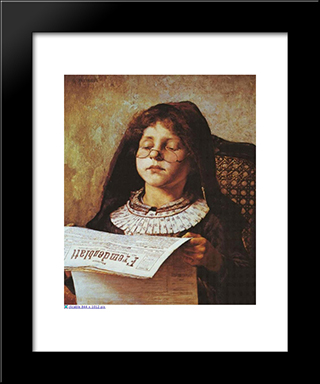 Girl Reading: Modern Black Framed Art Print by Georgios Jakobides