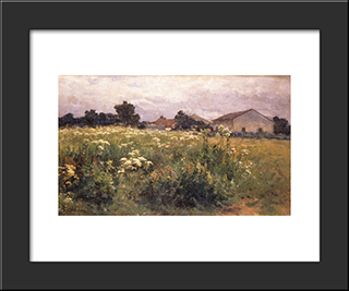 Grassy Field: Modern Black Framed Art Print by Georgios Jakobides