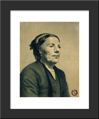 Old Lady With Scar On Her Cheek: Modern Black Framed Art Print by Georgios Jakobides