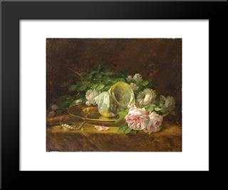 Platter With Seashells, Roses, Pearls And Earrings: Modern Black Framed Art Print by Georgios Jakobides