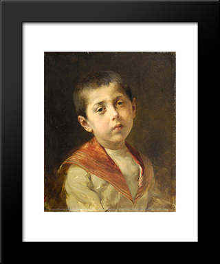 Potrait Of Vassilakis Melas: Modern Black Framed Art Print by Georgios Jakobides