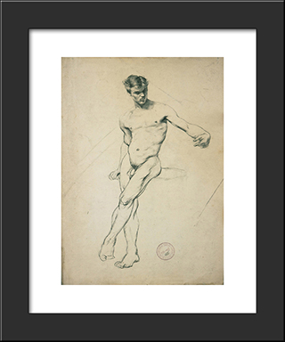 Study Of A Nude Youth: Modern Black Framed Art Print by Georgios Jakobides