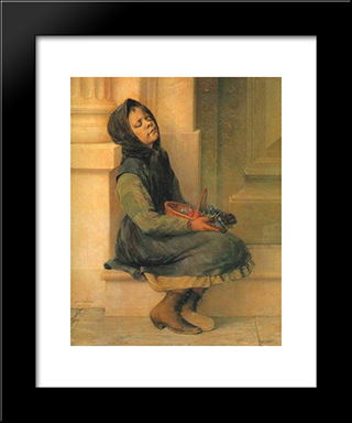 The Flower Seller: Modern Black Framed Art Print by Georgios Jakobides