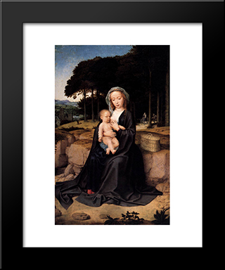 A Rest During The Flight To Egypt: Modern Black Framed Art Print by Gerard David