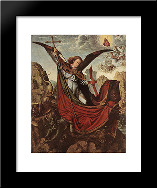 Altar Of Archangel Michael: Modern Black Framed Art Print by Gerard David