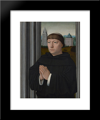 An Augustinian Friar Praying: Modern Black Framed Art Print by Gerard David