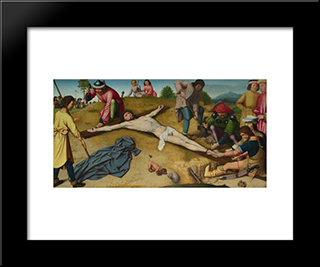 Christ Nailed To The Cross: Modern Black Framed Art Print by Gerard David