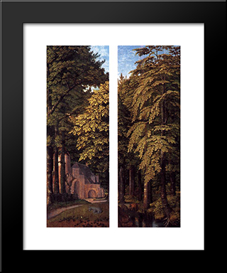 Forest Scene: Modern Black Framed Art Print by Gerard David