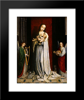 Madonna And Child With Two Music Making Angels: Modern Black Framed Art Print by Gerard David