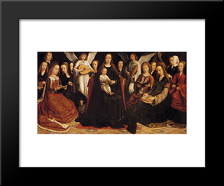 Madonna With Angels And Saints: Modern Black Framed Art Print by Gerard David