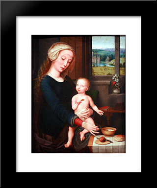Madonna With The Milk Soup: Modern Black Framed Art Print by Gerard David