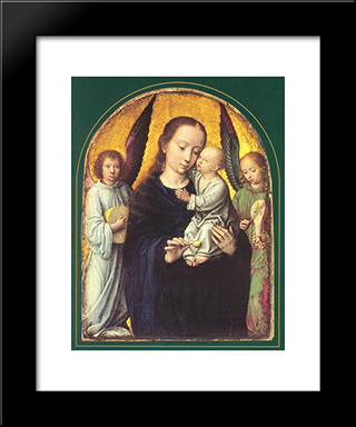 Mary And Child With Two Angels Making Music: Modern Black Framed Art Print by Gerard David