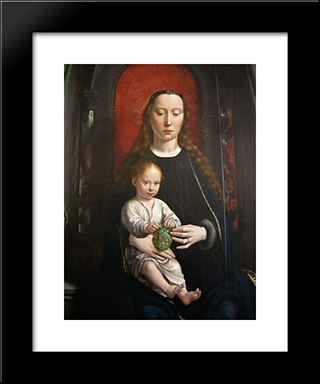 Polyptych Of Cervara Center Panel Madonna And Child Enthroned: Modern Black Framed Art Print by Gerard David