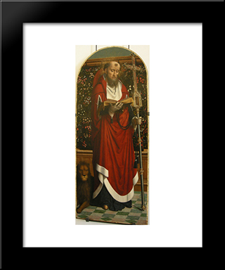 Polyptych Of Cervara St. Jerome: Modern Black Framed Art Print by Gerard David