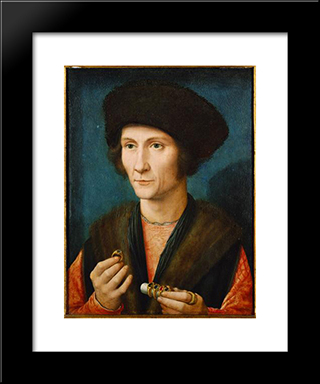 Portrait Of A Goldsmith: Modern Black Framed Art Print by Gerard David