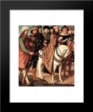 Roman Soldiers And Jewish Judges (Left Wing From The Triptych Of The Crucifixion): Modern Black Framed Art Print by Gerard David