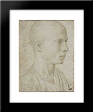 Study Of A Bust Of Yyoung Boy With Shaved Head: Modern Black Framed Art Print by Gerard David
