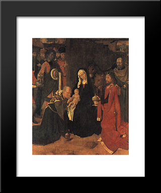 The Adoration Of The Magi: Modern Black Framed Art Print by Gerard David