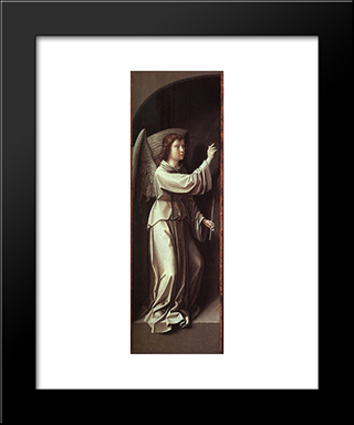 The Angel Of The Annunciation: Modern Black Framed Art Print by Gerard David
