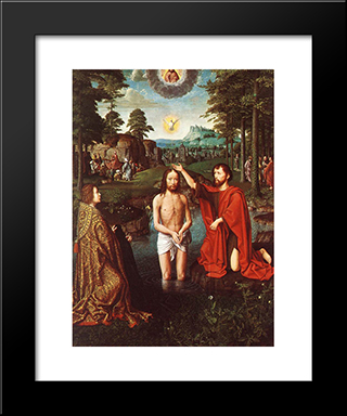 The Baptism Of Christ (Central Section Of The Triptych): Modern Black Framed Art Print by Gerard David